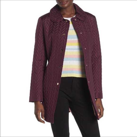 Kate Spade Quilted Button Down Jacket Coat Winter